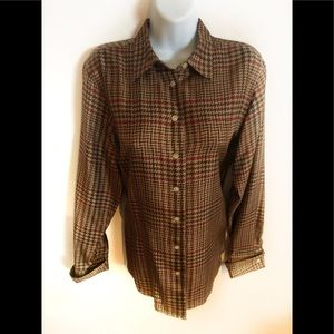 Lauren Ralph Lauren 100% Silk Plaid LS Blouse M